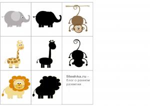 Дидактические карточки для малышей - угадай животное по его тени.