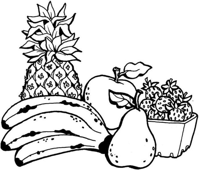 Раскраски с фруктами и ягодами