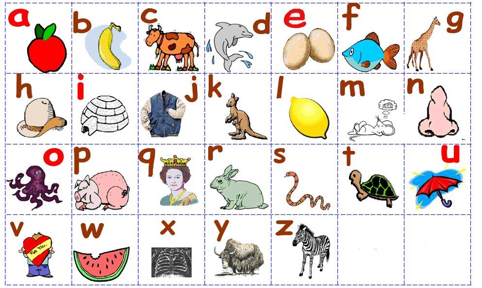 Карточки с английскими алфавитом и картинками
