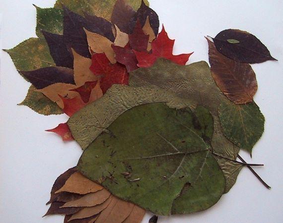 Природный материал поделки из листьев