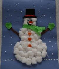 поделка снеговика из ватных шариков