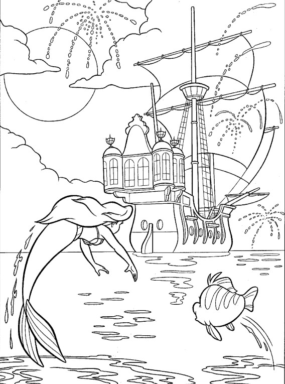 раскраска русалочка ариэль7