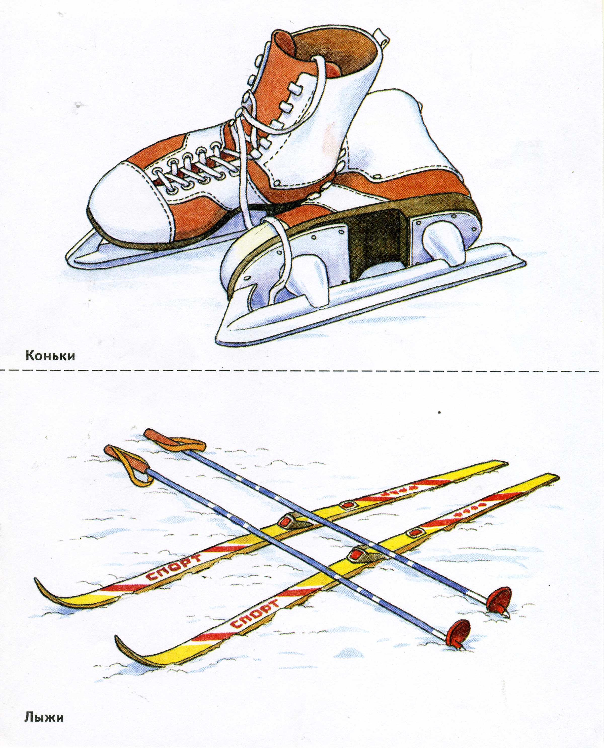 рисунок лыжи и санки