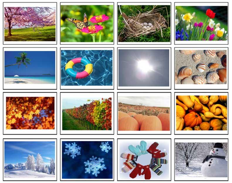 карточки времена года