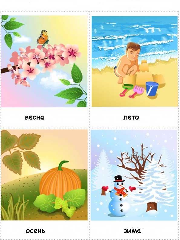 карточки зима, весна, лето, осень