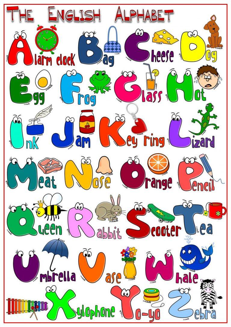 Картинка английского алфавита с рисунками