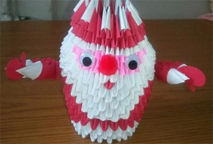дед мороз 3д оригами