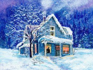 зимний домик картинка для рабочего стола