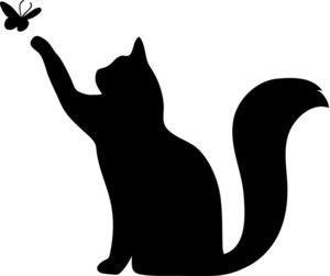 трафарет кошки с бабочкой