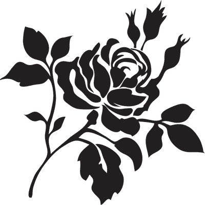 трафарет цветок роза