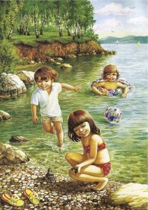 дети купаются летом картинки