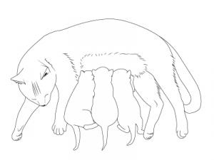 готовая кошка с котятами