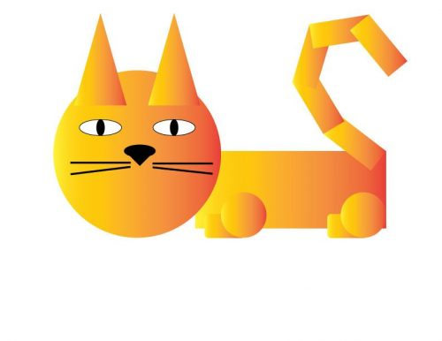 кошка из геометрических фигур