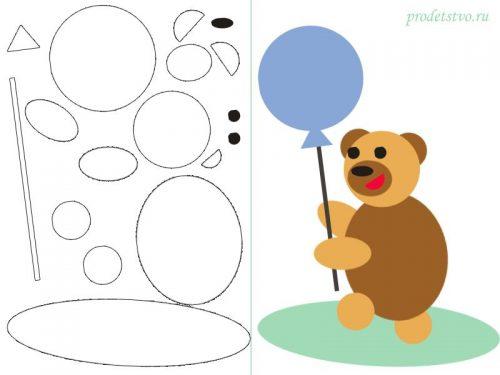Геометрическая аппликация медведь