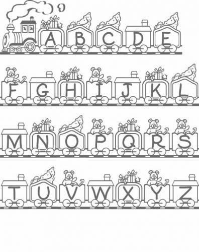 английский алфавит в картинках раскраска
