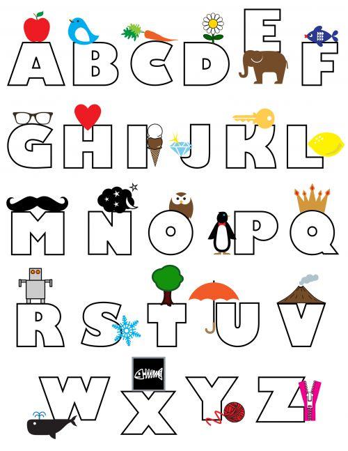 Английский алфавит (раскраска в картинках)