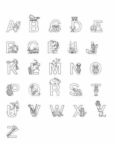 английский алфавит раскраски