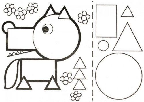 Геометрическая аппликация волк картинка