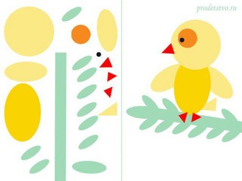 Геометрическая аппликация птичка