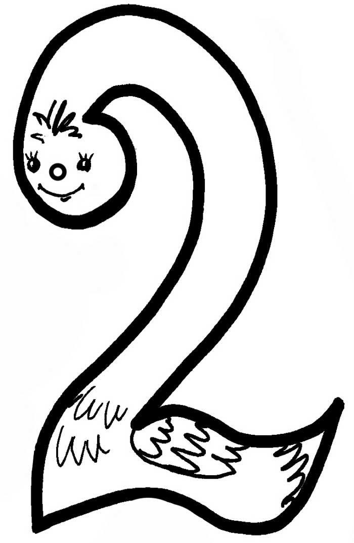 Раскраска цифры 2 с картинками