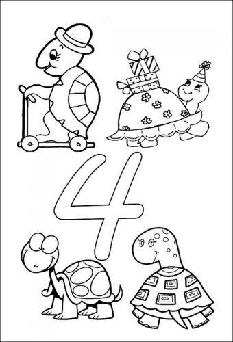 раскраска цифра четыре