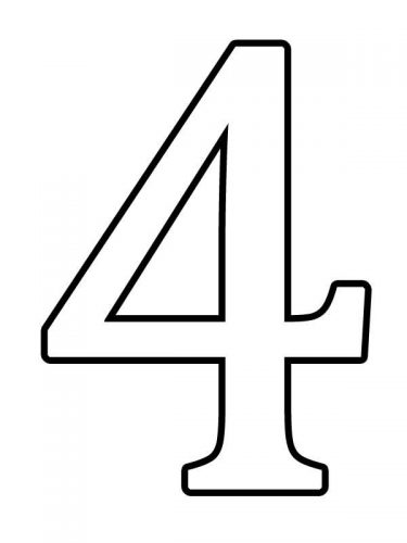 цифра 4 раскраска