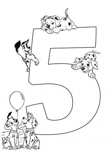 цифра 5 раскраска