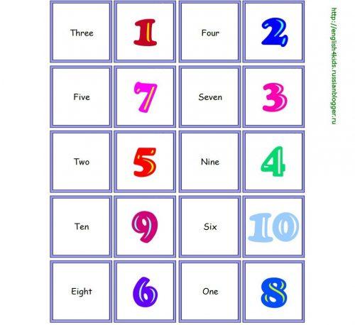 карточки с цифрами от 1 до 10