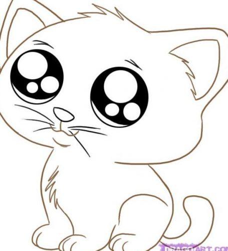 картинки раскраски котенок