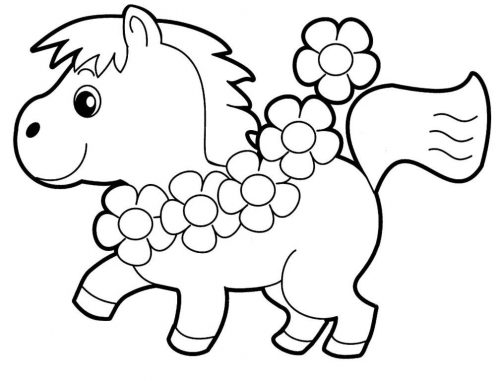 лошадка картинка раскраска