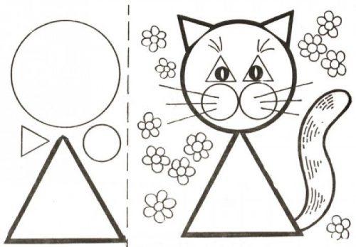 Геометрические аппликации кошка картинка