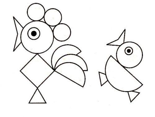 Геометрическая аппликация петушок картинка