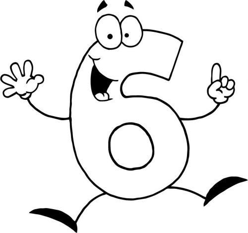 цифра шесть раскраска