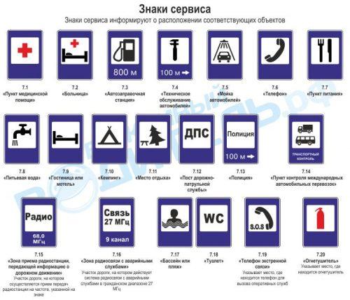 знаки сервиса дорожного движения картинки