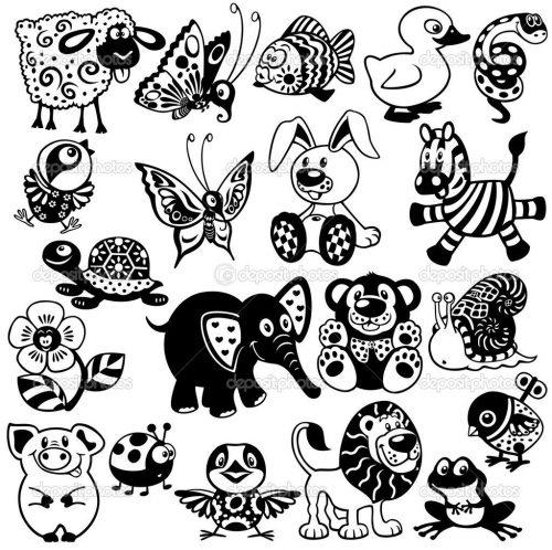 черно белые картинки животных