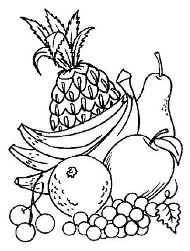 овощи и фрукты картинки раскраски