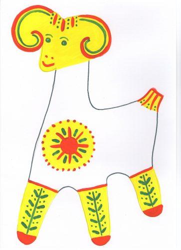 филимоновская игрушка раскраска барашка