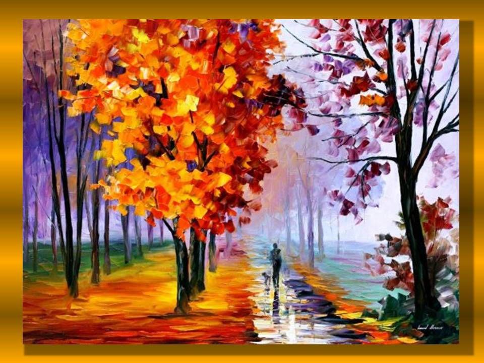 Как рисовать осень красками картинки