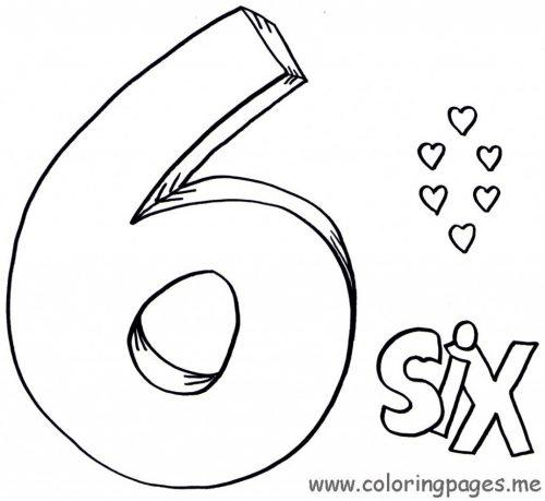 цифра 6 раскраска на английском языке