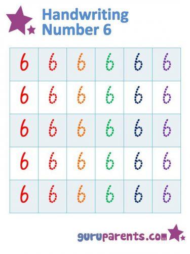 прописи цифра шесть