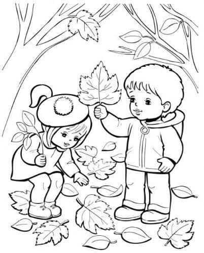 осень раскраска