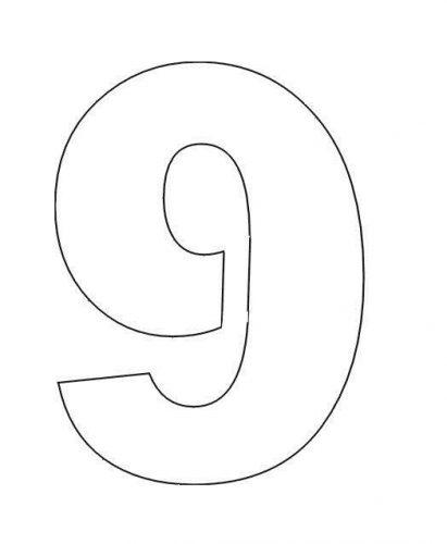 трафарет цифры 9