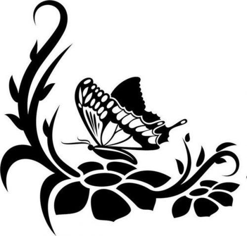 трафарет цветы и бабочка