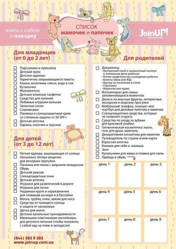 список вещей для малыша