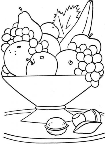 фрукты картинки раскраски