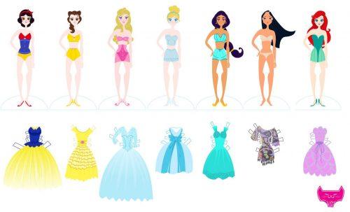 принцессы диснея-бумажные куклы