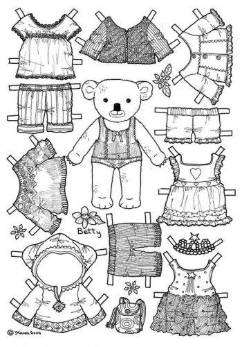 бумажные куклы раскраски