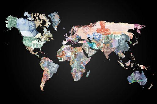 карта с мировой валютой