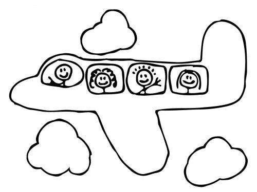 самолет раскраска3