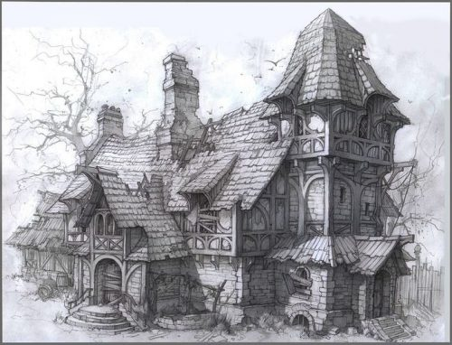 картинки дома нарисованные карандашом5